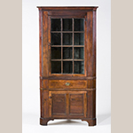 "Fig. 95: Corner cupboard by Jonathan Long, ca. 1830, Davidson Co., NC. Walnut with tulip poplar; HOA: 87-1/2"", WOA: 36-5/8"", DOA: NR. Private collection. MESDA Object Database file D-30523."