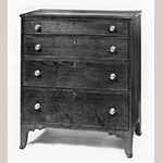 "Fig. 102: Chest of drawers by Jonathan Long, ca. 1830, Davidson Co., NC. Walnut and cherry with yellow pine, and light- and dark-wood inlay; HOA: 41-3/4"", WOA: 36-3/8"", DOA: 18"". Private collection. MESDA Object Database file S-2613."