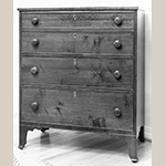 "Fig. 103: Chest of drawers by Jonathan Long, 1832, Davidson Co., NC. Walnut and cherry with yellow pine and light-wood inlay; HOA: 42"", WOA: 36-1/4"", DOA: 18"". Private collection. MESDA Object Database file S-2239."