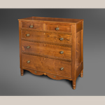 "Fig. 105: Chest of drawers attributed to Jonathan Long, ca. 1840, Davidson Co., NC. Walnut with yellow pine, light-wood inlay, and brass plaques; HOA: 42"", WOA: 39"", DOA: 18-1/4"". Private collection. MESDA Object Database file D-32534."