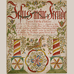 "Fig. 111: Fraktur for Hanna Elisabetha Clodfelter by the Ehre Vater Artist (w. ca. 1782–1828), Davidson Co., NC. Watercolor and ink on laid paper; HOA: 15-1/8"", WOA: 12-3/8"". Collection of the Colonial Williamsburg Foundation, Acc. 1960.305.3."
