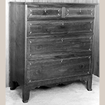 "Fig. 112: Chest of drawers by Jesse Clodfelter, 1829, Davidson Co., NC. Walnut with yellow pine, tulip poplar, and light- and dark-wood inlay; HOA: 44-3/8"", WOA: 36-13/16"", DOA: 18-1/4"". Private collection. MESDA Object Database file S-11545."