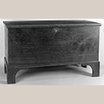 "Fig. 121: Chest by Jesse Clodfelter, 1845, Davidson Co., NC. Walnut with tulip poplar; HOA: 41-1/2"", WOA: 24"", DOA: 18-1/4"". Private collection. MESDA Object Database file S-11832."