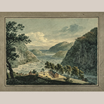 "Fig. 5: ""Junction of the Potomac and Shenandoah Rivers"" by William Roberts (1762–1809), ca. 1808. Watercolor, pencil, and ink on paper; HOA: 12"", WOA: 15-1/2"". MESDA Acc. 3424.2; Gift of G. Wilson Douglas, Jr. and Douglas Battery Fund."