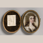 "Fig. 6: ""Elizabeth Galloway Roberts"" attributed to Joseph Daniel (1760–1803) or Abraham Daniel (d.1806), ca. 1790, England. Watercolor on ivory; HOA: 1-13/16"", WOA: 1-3/8"". Collection of the Philadelphia Museum of Art, Acc. 1966-20-6; Purchased with the John D. McIlhenny Fund, 1966."