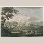 "Fig. 8: ""A View of Launceston,"" after William Roberts (1762–1809), 1799, engraved by Francis Jukes (1788–d.c.1829), London, England. Aquatint with period color; HOA: 17-2/3"", WOA: 24-1/8"". King George III Topographical Collection, the British Library, Cartographic Items Maps K.Top.9.33.a. By permission of the British Library."