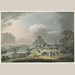 "Fig. 9: ""Launceston Castle, Cornwall,"" after William Roberts (1762–1809), 1799, engraved by Francis Jukes (1788–d.c.1829), London, England. Aquatint and etching with period color; HOA: 18"", WOA: 24-1/8"". King George III Topographical Collection, the British Library, Cartographic Items Maps K.Top.9.33.e. By permission of the British Library."