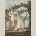 "Fig. 11: ""Tintern Abbey: The Crossing and Chancel, Looking towards the East Window"" by Joseph Mallord William Turner (1775–1851) 1794, England. Graphite and watercolor on paper; HOA: 14-1/8"", 9-7/8"". Collection of Tate Britain, Acc. D00374, Accepted by the nation as part of the Turner Bequest 1856."