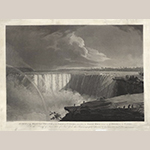 "Fig. 12: ""View of the Western Branch of the Falls of Niagara, taken from the Table Rock, looking up the River, over the Rapids,"" after John Vanderlyn (1775–1852), 1804, engraved by Frederick Christian Lewis (1779–1856) and published by John Vanderlyn, London, England. Aquatint; HOA: 24-1/4"", WOA: 33-1/2"". Courtesy of The Old Print Shop, New York, NY."