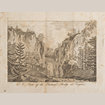 "Fig. 16: ""A View of the Natural Bridge in Virginia,"" engraved by Samuel Lewis, 1794, published by Mathew Carey, Philadelphia, PA; reproduced in Thomas Jefferson's ""Notes on the State of Virginia,"" third American edition (New York: Printed by M. L. and W. A. Davis for Furman & Loudon, 1801). Collection of the Colonial Williamsburg Foundation, Acc. 2017-233, Gift of Mr. and Mrs. Richard F. Barry, III, Mr. and Mrs. Macon F. Brock, Mr. and Mrs. David R. Goode, Mr. and Mrs. Conrad M. Hall, Mr. and Mrs. Thomas G. Johnson, Jr., Mr. and Mrs. Charles W. Moorman, IV, and Mr. and Mrs. Richard D. Roberts."