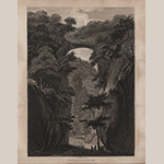 "Fig. 17: ""View of the Rock Bridge"" published in Isaac Weld's ""Travels through the States of North America, and the Provinces of Upper and Lower Canada"" (London: John Stockdale, 1799). Copperplate engraving; HOA: 8-7/8"", WOA: 6-3/8"". Courtesy of The Old Print Shop, New York, NY."