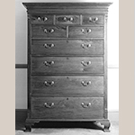 "Fig. 27: Tall chest of drawers attributed to Christopher Fry and Jacob Martin, 1775-1785, Winchester, Virginia or Frederick County, Virginia. Walnut with yellow pine and tulip poplar; HOA: 66-1/4"", WOA: 46"", DOA: 23"". Private collection, MESDA Research File 10,711."