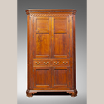 "Fig. 30: Corner cupboard by Moses Crawford, 1790-1800, Knox County, Tennessee. Walnut with yellow pine; HOA: 95-3/8"", WOA: 58"", DOA: 24-7/8"". Private collection, MESDA Research File 32,405."