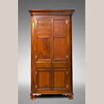"Fig. 40: Corner cupboard by Moses Crawford, 1800-1810, Knox County, Tennessee. Walnut with yellow pine; HOA: 92"", WOA: 49"", DOA: 22"". Private collection, MESDA Research File 32,404."