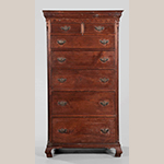 "Fig. 46: Tall chest of drawers by Moses Crawford, 1790-1800, Knox County, Tennessee. Walnut with yellow pine and tulip poplar; HOA: 74-1/4"", WOA: 23"". Private collection. Photograph courtesy of Brunk Auctions, Asheville, North Carolina (Lot 28, 13-14 November 2010 sale)."