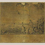 "Fig. 3: Membership certificate for the Charitable Marine Society of Baltimore, engraved by John Houlton (w.1799-1801) after a drawing by Frederick Kemmelmeyer (w.1788-1816); Baltimore, MD; 1796. Inscribed ""F. Kemmelmeyer Delin't/J. Houlton Sculp't."" Ink on paper; HOA: 16-3/4"", WOA: 18-1/4"". Collection of the Baltimore Museum of Art, Gift of Mr. and Mrs. J. William Middendorf II, BMA 1970.55. Photography by Mitro Hood."
