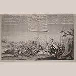 "Fig. 4: ""Action bei Busch-Wersdorf in Böhmen. d. 12 Mart. 1757"" by an unknown engraver; Germany; late eighteenth or early nineteenth century. Ink on paper; HOA: 14-1/4"", HOA: 17"". Private collection."