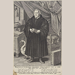 "Fig. 7: ""Martinus Lutherus Islebius Theologus Vixit An. LXII Obiit Iselbii Anno 1546 Febr. 18"" engraved by François Stuerhelt and published by Nicholas Visscher, 1640–1652, Amsterdam. Ink on paper; HOA: 313mm; WOA: 207mm. Collection of the Rijksmuseum, acc. RP-P-0B-60.610."