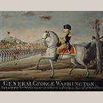 "Fig. 14: ""General George Wahington/: Reviewing the Western Army at Fort Cumberland the 18;/th of Octo;/r 1794"" by Frederick Kemmelmeyer (w.1788-1816); circa 1794-1803. Signed ""F. Kemmelmeyer. Pinxit."" Oil with gilt on paper; HOA: 18-1/8"", WOA: 23-1/8"". Collection of the Henry Francis du Pont Winterthur Museum, Bequest of Henry Francis du Pont, acc. 1958.2780."