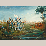 "Fig. 21: ""First Landing of/CR. Columbus at the/Island of St. Salvador South/America the 11th October"" by Frederick Kemmelmeyer (w.1788-1816); circa 1805-1806. Signed ""Kemmelmeyer Pinxit the [illegible] January 180[5 or 6]."" Oil on canvas; HOA: 27-5/8"", WOA: 36-7/16"". Collection of the National Gallery of Art, Washington, D.C., gift of Edgar William and Bernice Chrysler Garbisch, acc. no. 1966.13.3."