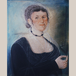"Fig. 25: ""Catharina Heiser Weltzheimer (1765-1823)"" by Frederick Kemmelmeyer (w.1788-1816); Shepherdstown, VA (now WV); 1816. Signed ""By Fred Kemmelmeyer/Shepherdstown/17 July 1816."" Pastel on paper; HOA: 24-3/8"", WOA: 19-3/8"". Private collection, MESDA Research File 5937."