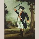 "Fig. 13: ""General William Darke (1736-1801) at the Battle of the Miami Indians"" attributed to Frederick Kemmelmeyer (w.1788-1816); Jefferson County, VA (now WV); circa 1791-1801. Oil on paper; HOA: 25"", WOA: 20"". Collection of the Museum of Early Southern Decorative Arts (MESDA), acc 973.3."