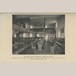 """Fig. 5: """"Interior View of Hopewell Meeting House""""; photograph possibly by John W. Wayland, 1934–1936. The stretcher table illustrated in Fig. 87 is shown sitting on the far-right platform. Illustrated in John W. Wayland, """"Hopewell Friends History 1734-1934, Frederick County, Virginia: Records of Hopewell Monthly Meetings and Meetings Reporting to Hopewell"""" (Strasburg, VA: Shenandoah Publishing House, 1936), not numbered, insert between pp. 96-97."""
