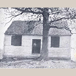 Fig. 10: Back Creek Meeting House, ca.1777 (torn down in the early 20th century), Gainesboro, Frederick Co., VA; unknown photographer, ca.1900. Collection of the Stewart Bell Jr. Archives, Walker Bond Family Papers, Winchester-Frederick County Historical Society Collection, no. 163-37 wfchs, Handley Regional Library, Winchester, VA.