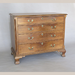 """Fig. 19: Chest of drawers, 1780–1800, Frederick Co., VA. Cherry with yellow pine; HOA: 33-3/4"""", WOA: 41"""", DOA: 22-1/4"""". Collection of the Winchester-Frederick County Historical Society, Acc. 1998.005.012, Winchester, VA. Photograph by the author."""