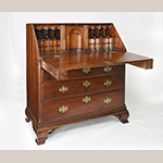 """Fig. 35: Desk, 1770–1800, Octoraro Area, Chester Co., PA. Walnut with oak, chestnut, and tulip poplar; HOA: 47"""", WOA: 43"""", DOA: 22-7/8"""". Collection of the Chester County Historical Society, Acc. FD8, West Chester, PA. Gift of Francis D. and Deborah H. Brinton. Photograph by Laszlo Bodo."""