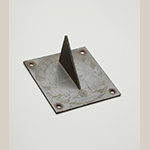 """Fig. 37: Sundial by Goldsmith Chandlee (1751–1821), ca.1800, Winchester, VA. Pewter; HOA: 2-1/2"""", LOA: 5-1/8"""", WOA: 5-1/8"""". Collection of the Museum of the Shenandoah Valley, Acc. 2013.0003. Photograph by Ron Blunt."""