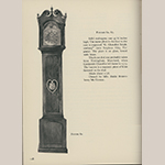 """Fig. 38: Tall case clock with works by Goldsmith Chandlee (1751–1821), 1775–1782, Stephensburg (now Stephens City), VA. Mahogany with unidentified secondary woods, brass, steel, and glass; HOA: 97-1/2"""". Illustrated in Edward E. Chandlee, """"Six Quaker Clockmakers"""" (Stratford, CT: New England Publishing, 1975), 118, fig. 62."""