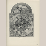 """Fig. 39: Detail of the dial on the clock illustrated in Fig. 38. Illustrated in Edward E. Chandlee, """"Six Quaker Clockmakers"""" (Stratford, CT: New England Publishing, 1975), 118, fig. 63."""
