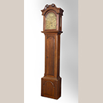 """Fig. 40: Tall case clock with works by Goldsmith Chandlee (1751–1821), 1782–1800, Winchester or Frederick Co., VA. Walnut with yellow pine, iron, brass, and steel; HOA: 91-3/4"""", WOA: 20-3/4"""", DOA: 10-7/8"""". Private collection. Photograph by Gary Albert."""
