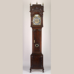 """Fig. 43: Tall case clock with works by Benjamin Chandlee Jr. (1723–1791), 1750–1775, Nottingham area, Chester Co., PA. Walnut with tulip poplar and oak, brass, silvered brass, iron, bronze, and steel; HOA: 107"""", WOA: 22-1/2"""", DOA: 11-1/2"""". Collection of the Winterthur Museum, Acc. 2003.32. Purchased with funds provided by the Henry Francis du Pont Collectors Circle."""