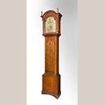 """Fig. 45: Tall case clock with works by Goldsmith Chandlee (1751–1821), 1782–1800, Winchester or Frederick Co., VA. Cherry with yellow pine, iron, brass, and steel; HOA: 87-1/2"""", WOA (at hood): 21-3/4"""", DOA: 9-3/4"""". Private collection. Photograph by Gary Albert."""