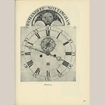 """Fig. 59: Detail of the dial on the clock illustrated in Fig. 58. Illustrated in Edward E. Chandlee, """"Six Quaker Clockmakers"""" (Stratford, CT: New England Publishing, 1975), 96, fig. 55."""