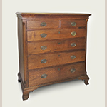 """Fig. 61: Chest of drawers attributed to Jonathan Ross (1748–1832), 1795–1809, Frederick Co., VA. Walnut with yellow pine and tulip poplar; HOA: 43"""", WOA: 40-1/4"""", 19-1/8"""". Private collection. Photograph by the author."""