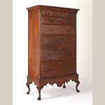 """Fig. 66: High chest-on-frame by Samuel Morris (d.c.1809), 1793, Logtown, Chester Co., PA. Inscribed on back of a drawer: """"Samuel Morris / Joiner of Logtown / 8 mo 5 1793."""" Walnut with tulip poplar; HOA: 74-3/4"""", WOA: 38"""", DOA: 21-1/5"""". Collection of the Winterthur Museum, Acc. 2007.0017. Museum purchase with funds provided by the Henry Francis du Pont Collectors Circle."""