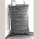 """Fig. 67: High chest-on-frame, ca.1776, Frederick Co. or Berkeley Co., VA or Chester Co., PA. Walnut with yellow pine; HOA: 64-3/8"""", WOA (at knees): 43-3/4"""", DOA: 23-1/2"""". Private collection, MESDA Object Database file S-27455."""