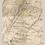 """Fig. 68: Mill Creek area in southwestern Berkeley Co., VA (now WV) detailed from the map illustrated in Fig. 1. The highlighted name """"L. Henshaw"""" corresponds to the mill at Springhill operated by William Henshaw's son Levi (b.1769)."""