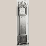 """Fig. 72: Tall case clock with works by and/or for Mordecai Miller (1764–1832), 1818–1832, Alexandria area, VA. Walnut with tulip poplar, iron, brass, and steel; HOA: 96"""", WOA (hood): 20"""", DOA (hood): 11"""". Private collection, MESDA Object Database file S-7015."""