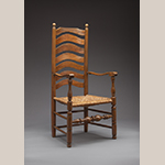 """Fig. 75: Armchair attributed to Thomas Fawcett (d.1747) or Richard Fawcett (d.1789), 1743–1753, Frederick Co., VA. The rear posts were raised in the 20th century; the rush seat is a replacement. Maple with ash (or possibly hickory) and rush; HOA: 48-1/2"""", WOA: 23-1/2"""", DOA: 19"""". Collection of the Museum of the Shenandoah Valley, Julian Wood Glass Jr. Collection, Acc. 1152. Photograph by Ron Blunt."""
