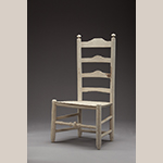 """Fig. 77: Chair, 1800–1850, southern Frederick Co., VA. History in the Steele family of Locust Hill. Unidentified woods under white paint; HOA: 37"""", WOA: 18-1/2"""", WOA: 14-5/8"""". Private collection. Photograph by Ron Blunt."""