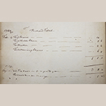 Fig. 83: Detail from James Wood Ledger Book showing James Wood's accounts with Richard Fawcett (d.1789), 1749–1753. Archives Collection, Museum of the Shenandoah Valley.