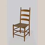 """Fig. 99: Chair, 1830–1860, probably southern Frederick Co., VA. Hickory (or possibly ash) and white oak; HOA: 36-3/4"""", WOA: 17-1/2"""", DOA: 15"""". Private collection. Photograph by Gary Albert."""