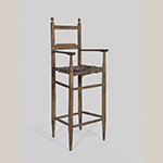 """Fig. 101: High chair, 1830–1860, southern Frederick Co., VA. Hickory (or possibly ash) with pine (arms) and white oak (seat); HOA: 37-1/2"""", WOA: 14-1/2"""", DOA: 12-3/4"""". Private collection. Photograph by Gary Albert."""