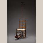Fig. 107: Flywhisk chair, 1830–1860, southern Frederick Co., VA. The flywhisk element is missing. Hickory (or possibly ash) with yellow pine and white oak (seat). Collection of the Museum of the Shenandoah Valley, Acc. 2015.09. Photograph by Ron Blunt.