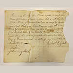 Fig. 114: Receipt issued by Robert English to David Lupton for painting the interior of Cherry Row, 12 March 1795, Frederick Co., VA. Lupton Family Papers, ca. 1792–1964 (RG 5/093), Box 2, Series 3, Business Papers, 1766–1918, David Lupton Business Papers (receipts, surveyor's chart, estate) 1792–1838, Swarthmore Friends Historical Library, Swarthmore College, Swarthmore, PA.