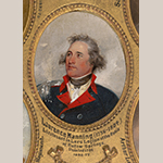 "Fig. 8: Detail of the portrait study of Lawrence Manning (1756–1804) by John Trumbull (1756–1843), 1791. Oil on mahogany panel; HOA: 4"" (13-1/2 in frame), WOA: 3"" (12"" in frame). Inscribed on frame: ""Lieutenant in Lee's Legion at the Battle of Eutaw Springs."" Collection of Yale University Art Gallery (New Haven, CT), Acc. 1832.77."